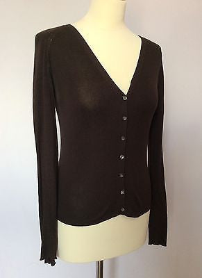 Jigsaw Brown V Neck Silk Cardigan Size S - Whispers Dress Agency - Sold - 1