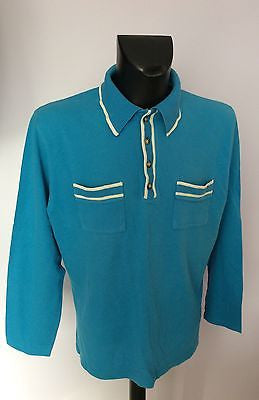 Nicole Farhi Turqouise Long Sleeve Polo Shirt Size XL - Whispers Dress Agency - Sold - 1