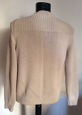 Joseph Homme Beige Cotton V Neck Jumper Size S - Whispers Dress Agency - Mens Knitwear - 2