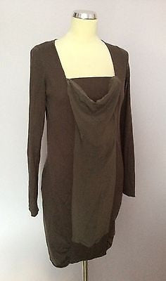 Penny Black Brown Silk Panel Front Silk & Cotton Knit Dress Size M - Whispers Dress Agency - Womens Dresses - 1