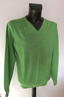 Linea Luxury Merino Wool Green V Neck Jumper Size S - Whispers Dress Agency - Mens Knitwear - 1
