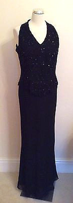 Jkara New York Black Beaded & Sequinned Long Evening Dress Size 14 - Whispers Dress Agency - Sold - 1
