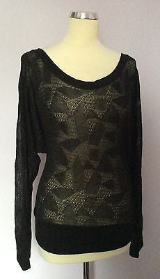Vero Moda Black Sparkle Fine Knit Scoop Neck V Back Top Size XS - Whispers Dress Agency - Womens Tops - 1