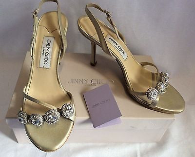 Jimmy Choo Nude Silk Satin Jewel Strappy Heel Sandals Size 7/40 - Whispers Dress Agency - Womens Sandals - 1