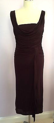 Coast Dark Brown Scoop Neck Pleated Top Dress Size 10 - Whispers Dress Agency - Sold - 1