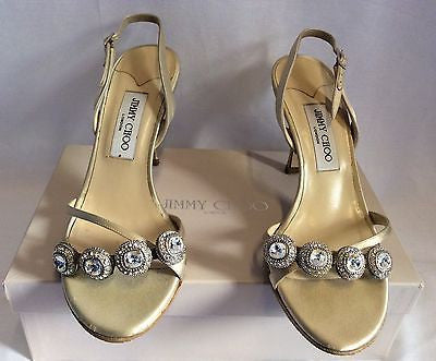 Jimmy Choo Nude Silk Satin Jewel Strappy Heel Sandals Size 7/40 - Whispers Dress Agency - Womens Sandals - 3