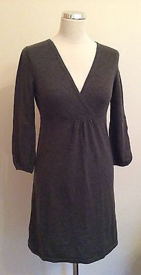 Boden Brown Knit V Neck 3/4 Sleeve Dress Size 8 - Whispers Dress Agency - Womens Dresses - 1