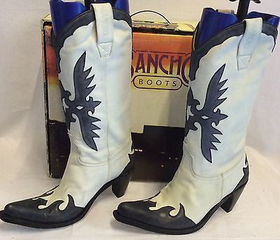 Sancho Black & White All Leather Cowboy Boots Size 6/39 - Whispers Dress Agency - Sold - 1