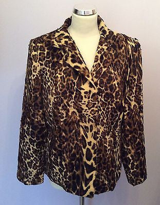 New Viyella Brown Leopard Print Short Faux Fur Feel Jacket Size 14 - Whispers Dress Agency - Womens Coats & Jackets - 1