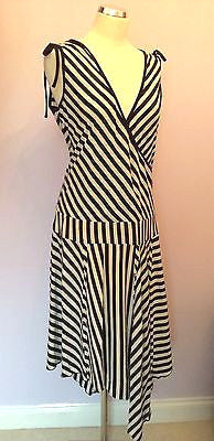 Whistles Black & White Stripe Sleeveless Wrap Dress Size 14 - Whispers Dress Agency - Womens Dresses - 1