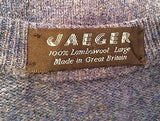 Jaeger Blue Wool Crew Neck Jumper Size L - Whispers Dress Agency - Sold - 3
