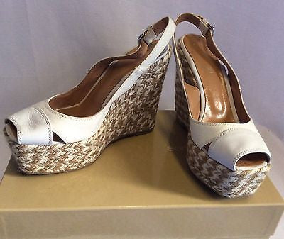 Sergio Rossi Ivory/Beige Canvas & Leather Wedge Heel Peeptoe Sandals Size 3/36 - Whispers Dress Agency - Womens Wedges - 1