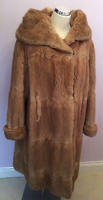 Stunning Vintage Musquash Knee Length Fur Coat Fit UK 14/16 - Whispers Dress Agency - Sold - 1