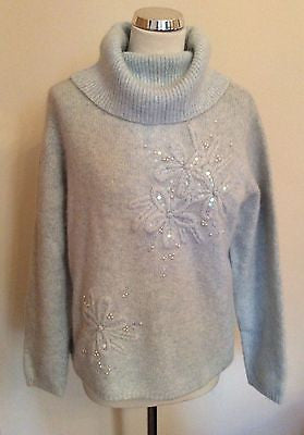 Marks & Spencer Pale Blue Beaded & Sequin Trim Polo Neck Jumper Size 18 - Whispers Dress Agency - Sold - 1