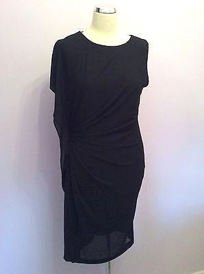 Brand New With Tags Angelababy Black Pleated Side Dress Size L - Whispers Dress Agency - Womens Dresses - 1