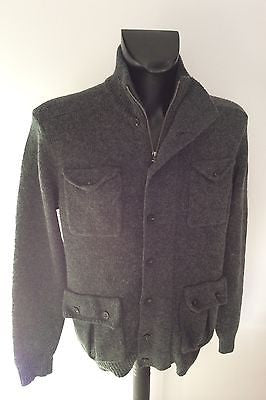 French Connection Dark Grey Zip & Button Fasten Front Cardigan Size M - Whispers Dress Agency - Mens Knitwear - 1