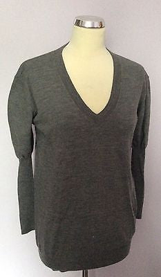 Penny Black Grey 100% Wool V Neck Jumper Size S - Whispers Dress Agency - Sold - 1