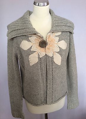 Ted Baker Light Grey Sequined Flower Trim Cardigan Size 4 Approx 14 - Whispers Dress Agency - Sold - 1