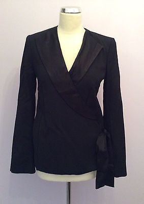 French Connection Black Wool Wrap Around Evening Jacket Size 8 - Whispers Dress Agency - Womens Suits & Tailoring - 1