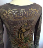 Ed Hardy Brown Printed V Neck Long Sleeve Cardigan Top Size XS - Whispers Dress Agency - Sold - 3