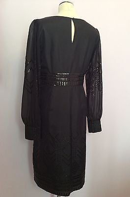 Brand New Monsoon Black Sequinned Long Sleeve Silk Dress Size 12 - Whispers Dress Agency - Womens Eveningwear - 3
