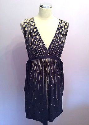 French Connection Blue & Cream Print V Neck Sleeveless Dress Size 12 - Whispers Dress Agency - Sold - 1