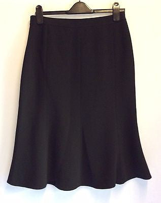 Jaeger Black Fluted Hem Knee Length Skirt Size UK 12 - Whispers Dress Agency - Sold - 1