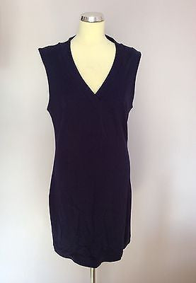 French Connection Dark Blue Stretch V Neck Sleeveless Dress Size 16 - Whispers Dress Agency - Womens Dresses - 1