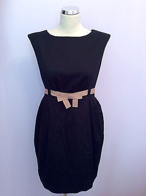 Jesire Red, Black & Beige Belt Cotton Dress Size 12 - Whispers Dress Agency - Sold - 1