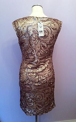 Brand New Jane Norman Gold Sequin Swirl Dress Size 14 - Whispers Dress Agency - Clearance - 3
