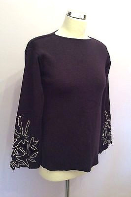 Emporio Armani Deep Purple Embroidered Cut Out Cuff Wool Jumper Size 38 UK 10 - Whispers Dress Agency - Sold - 1