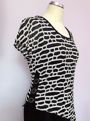 Joseph Ribkoff Black & White Stretch Long Evening Dress Size 12 - Whispers Dress Agency - Sold - 2