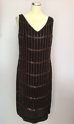 Episode Dark Brown Silk & Bronze Beaded Shift Dress Size 14 - Whispers Dress Agency - Sold - 1
