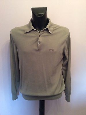 Hugo Boss Light Grey Collared Button Front Merino Wool Jumper Size 50 UK 40 - Whispers Dress Agency - Mens Knitwear - 1