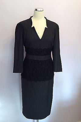 Brand New Jaeger Grey & Black Lace Trim Wool & Silk Dress Size 16 RRP £560 - Whispers Dress Agency - Sold - 1