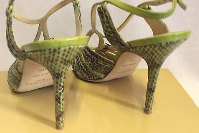 Jimmy Choo Raven Elaphe Green Snakeskin Strappy Heel Sandals Size 7/40.5 - Whispers Dress Agency - Womens Sandals - 3