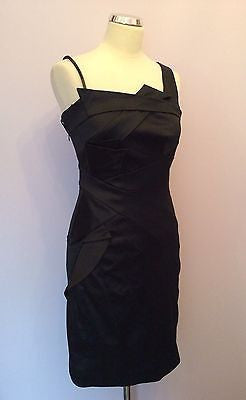 La Chere Black Matt Satin Wiggle Pencil Dress Size 40 UK 10 - Whispers Dress Agency - Sold - 1