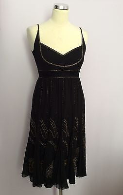 Karen Millen Black Beaded Silk Strappy Dress Size 8 - Whispers Dress Agency - Sold - 1