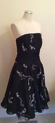 Zafir London Black Appliqué Trim Strapless Occasion / Party Dress Size 14 - Whispers Dress Agency - Womens Special Occasion - 1