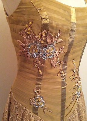 Brand New Bicici Gold Lace Trim Bead & Sequin Appliqué Silk Cocktail Dress Size M - Whispers Dress Agency - Womens Eveningwear - 2