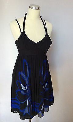 Karen Millen Black & Blue Print Silk Strappy Dress Size 8 - Whispers Dress Agency - Womens Special Occasion - 1