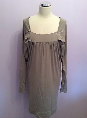 Brand New Northlands Beige Square Neck Pleated Sleeve Stretch Dress Size M/L - Whispers Dress Agency - Womens Dresses - 1