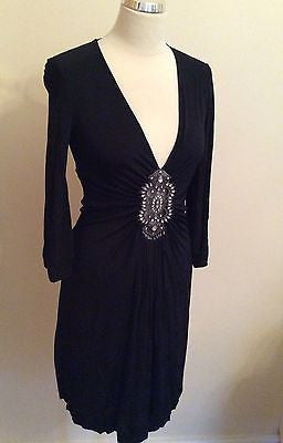 Vertigo Black Jewel Trim Dress Size S - Whispers Dress Agency - Womens Eveningwear - 1