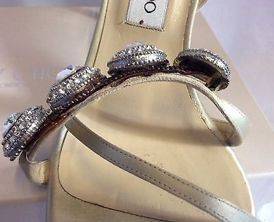 Jimmy Choo Nude Silk Satin Jewel Strappy Heel Sandals Size 7/40 - Whispers Dress Agency - Womens Sandals - 5