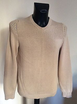 Joseph Homme Beige Cotton V Neck Jumper Size S - Whispers Dress Agency - Mens Knitwear - 1