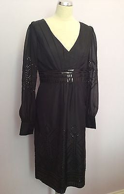 Brand New Monsoon Black Sequinned Long Sleeve Silk Dress Size 12 - Whispers Dress Agency - Womens Eveningwear - 1