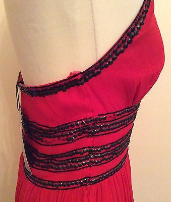 Brand New Marcelane Red & Black Bead & Sequinned Silk Halterneck Dress Size 12 - Whispers Dress Agency - Womens Eveningwear - 4