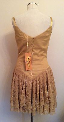 Brand New Bicici Gold Lace Trim Bead & Sequin Appliqué Silk Cocktail Dress Size M - Whispers Dress Agency - Womens Eveningwear - 3