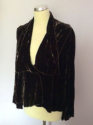 Per Una Dark Brown Velvet Long Sleeve Jacket Size 16 - Whispers Dress Agency - Sold - 1