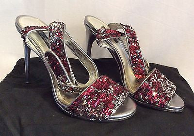 Dolce & Gabbana Red & Silver Sequinned Strappy Heel Sandals Size 6/39 - Whispers Dress Agency - Sold - 1